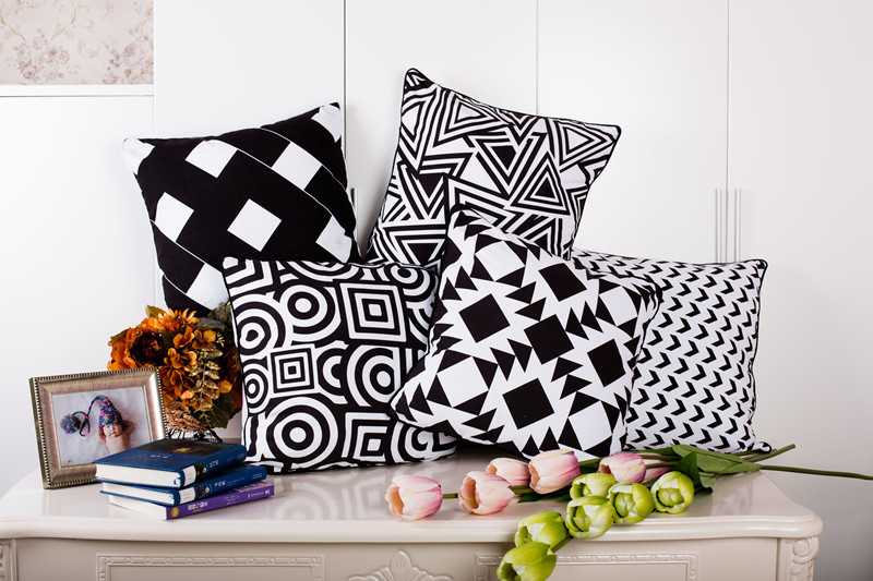 "18"" Black White Geometric Suede Cushion Cover Ikea Sofa Decorative"