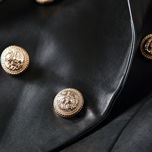 HIGH STREET Designer Blazer Jacket Women's Lion Metal Buttons Faux Leather Blazer