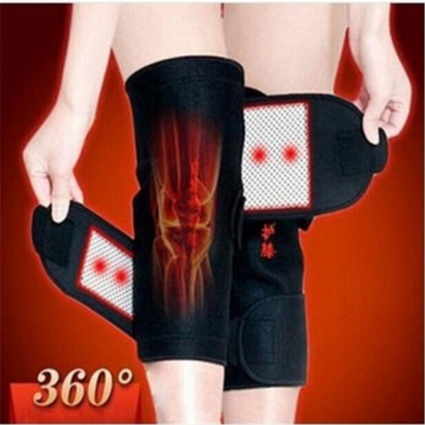1Pair Tourmaline Self-Heating Knee Leggings Brace Support Magnetic Therapy Knee Pads Adjustable Knee Massager Health Care