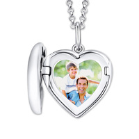 Wholesale Engraved Heart Photo Locket Memorialize Pendant Necklace Christmas Gift