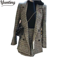 Women Autumn High Quality Double Breasted Long Sleeves Turn Down Collar Suit 2pcs Skirt Sets Suit