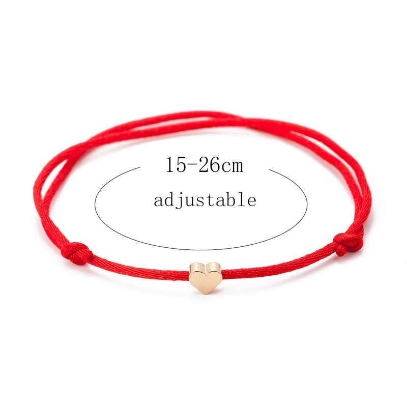 ゴールドカラーのハート赤糸ブレスレット女性男性手作り文字列ロープチャームブレスレット友情ラッキージュエリーカップルギフト
