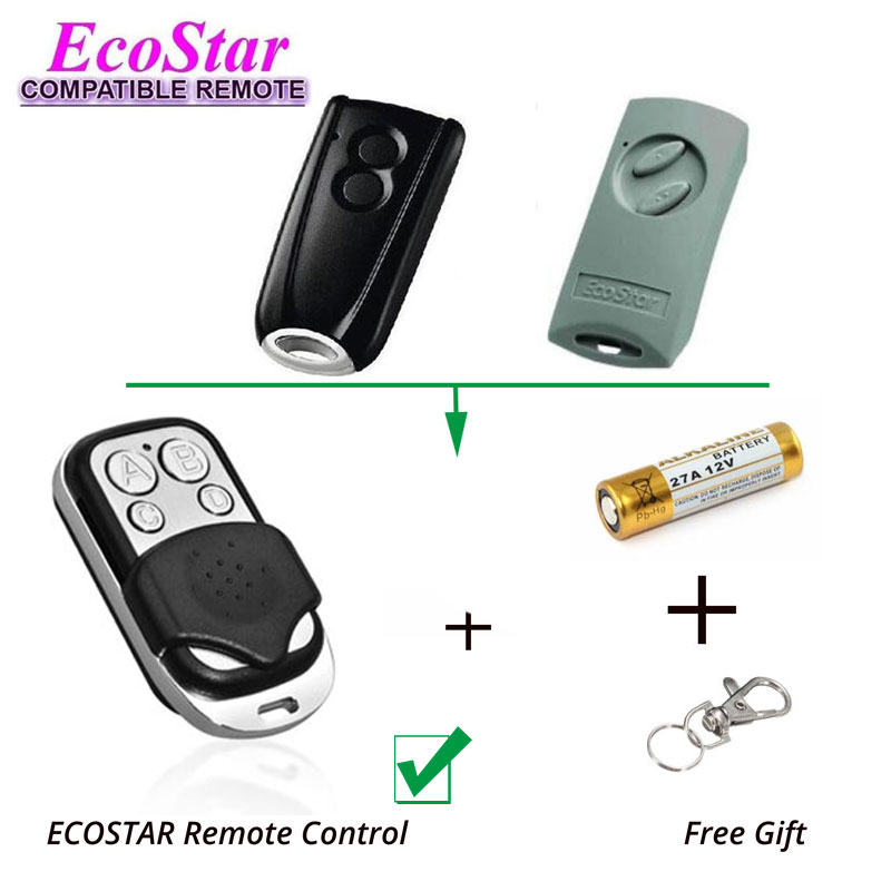 Gate Door Hand Remote Control Replacement EcoStar RSC2, EcoStar RSE2 433,92Mhz
