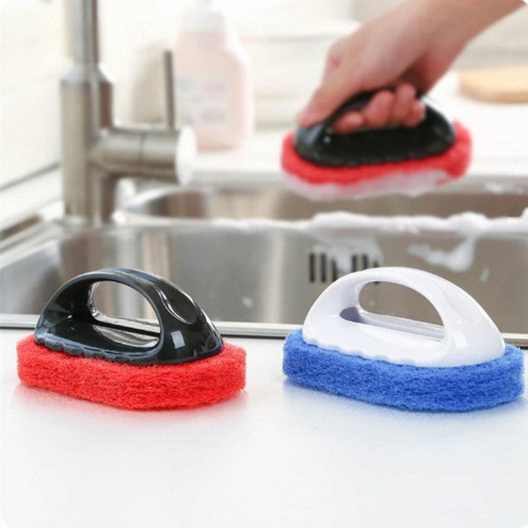 1Pcs Decontamination Sponge Hard Bottom Cleaning Brush Stove Bathroom Brush Floor with Handle Wipe Tiles Wiping Kitchen Clean