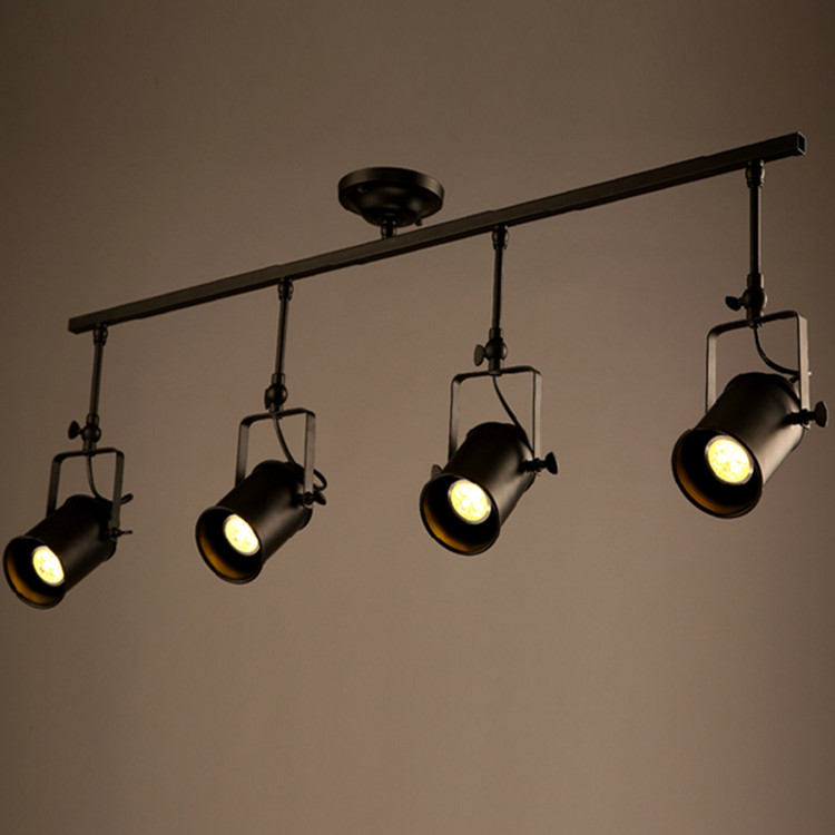1 2 3 4 Heads Track Lighting Black Iron Rotatable Retro Bedroom