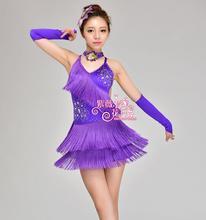 Girl Latin Dance Dresses For Tassel style Cha Cha/Rumba/Samba/Ballroom/Tango Dance Clothing Kids Dance Costume tassel Dancewear