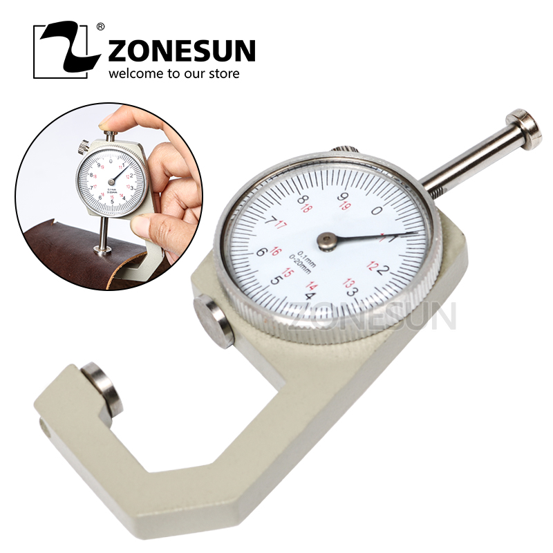 ZONESUN 1pcs Dial Thickness Gauge Flat Head 0-10*0.1mm Or 0-20*0.1mm Gage Meter Measuring Sheet Metal Leather Tester