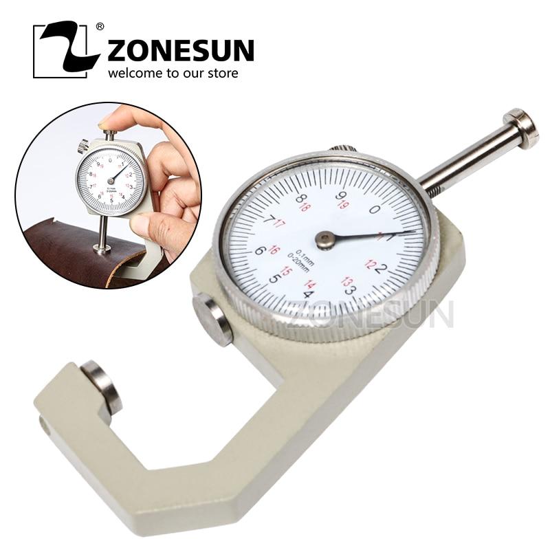 ZONESUN 1pcs Dial Thickness Gauge Flat Head 0-10*0.1mm Or 0-20*0.1mm Gage Meter Measuring Sheet Metal Leather Tester