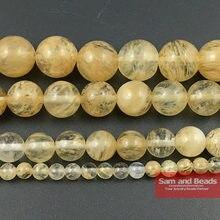 Miçangas de quartzo soltas para frete, pedra natural lisa, citrinos, 16 polegadas, 6 8 10 12mm, tamanho escolar para fazer joias cqb01