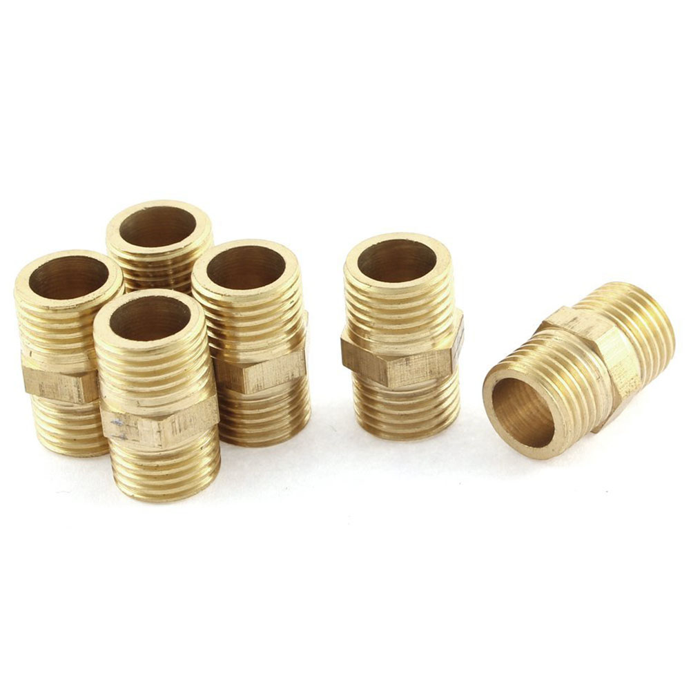 1//2BSP Male Thread Brass Hex Nipple Tube Pipe Connecting Fittings 6pcs