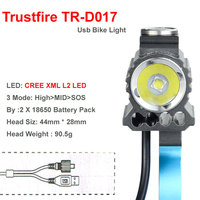 TrustFire Hot D017 USB 3 Mode XM L L2 LED Bicycle Front Light Battery Pack Charger