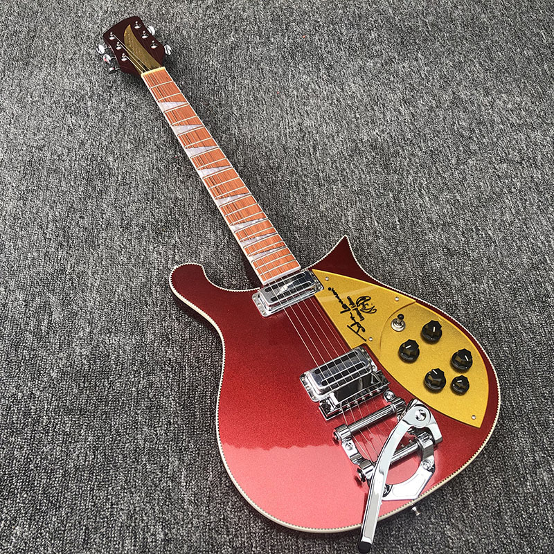 Guitarra Eléctrica Bigsby Ricken 660, diapasón de palo de rosa tiene el brillo de barniz en él, cabezal de 5 grados, ¡Cuello Rico a través del cuerpo!