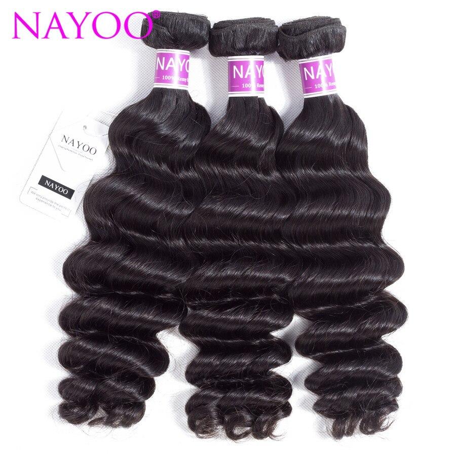 NAYOO Hair Human Hair Bundles Brazilian Loose Deep Hair Weaving Can Be Dye 8-26 Inch Natural Color Remy Hair
