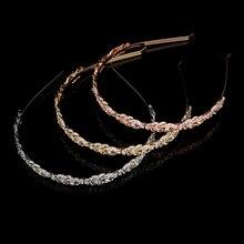 Трендовая Золотая повязка на голову, сплав, свадебные аксессуары для женщин, выпускной, свадебные украшения, головной убор, повязка на голову для невесты