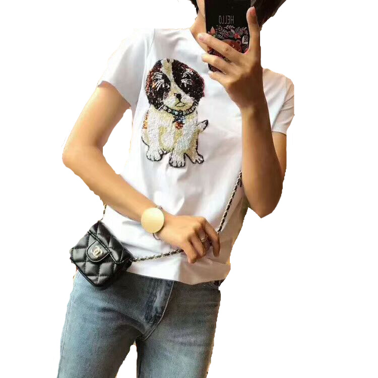 New Arrival Summer 2018 Women's Sequined Dog Embroidered Cotton T Shirt 171125SM02 комбинезон fifi lakres комбинезон