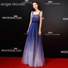 Long Bling Bling Sequin Celebrity Dresses 2018 Sleeveless Formal Evening Gown with Straps Angel Novias