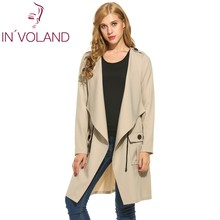 IN'VOLAND Women Drawstring Plus Size Coat 2017 Autumn Lapel Long Sleeve Lace Up High Waist Casual Loose Trench Coat Big Size 3XL