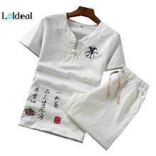 LOLDEAL Chinese Summer Linen Embroidered Breathable Set Mens Short Sleeve T-Shirt + Shorts