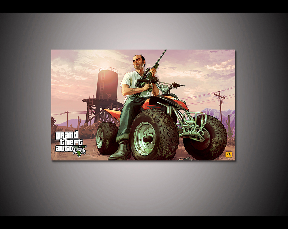 Canvas print painting Grand theft auto gta v 5 Game poster Modern Home Decor Wall art Pictures For Living Room No frame F1604