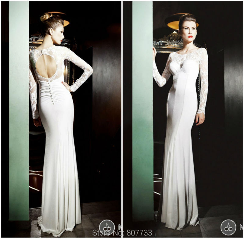Bridals Cw3394 Elegant Without Trains Chiffon Design Open Back Mermaid Simple Lace Long Sleeve Wedding Dress In Dresses From Weddings Events On