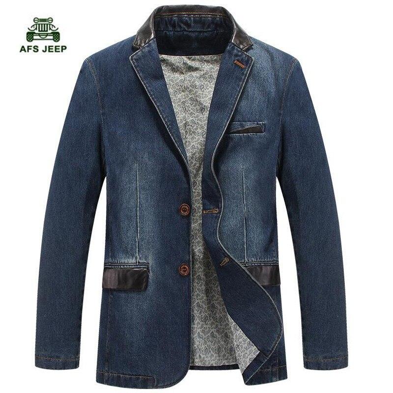 New men denim blazer slim fit leather denim jacket men blazer masculino csual jeans suit jacket size