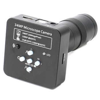2K 34MP 1080P 60FPS Electronic Microscopio HDMI/USB Digital Microscope Camera Video Magnifier 100X 180X 300X Zoom C-mount Lens