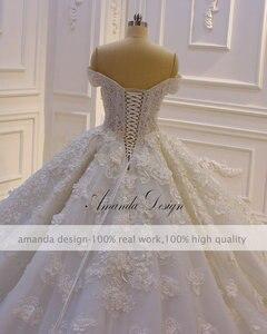 Image 5 - Robe mariage fora do ombro manga curta rendas apliques 3d flor vestido de casamento luxo