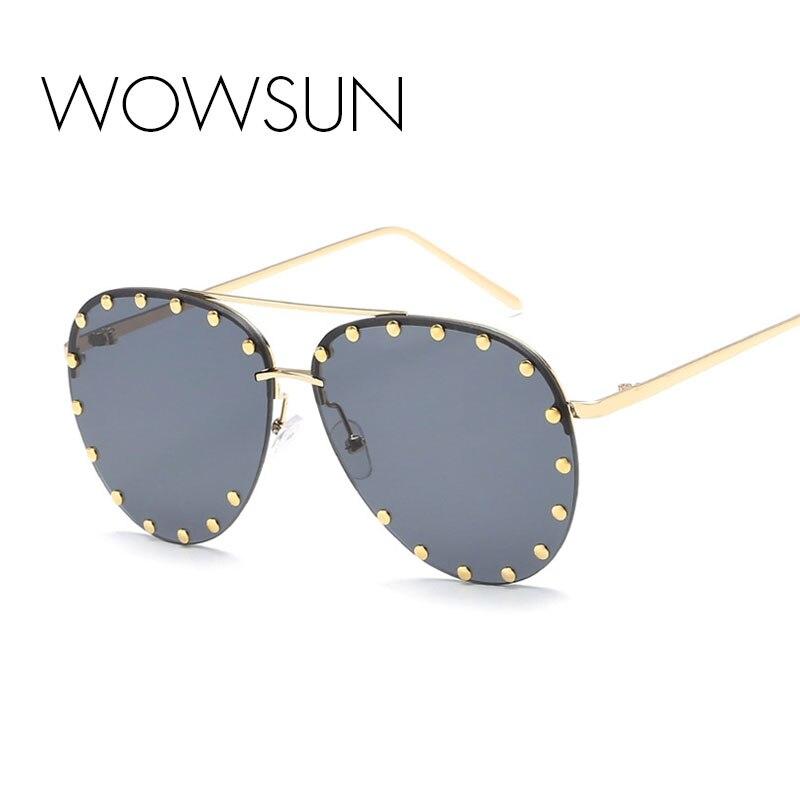 WOWSUN 2018 Nouvelle Mode Double Faisceau Femelle Rivet lunettes de Soleil Femmes Hommes Marque Designer Ovale Alliage Lunettes Top Qualité UV400 A330