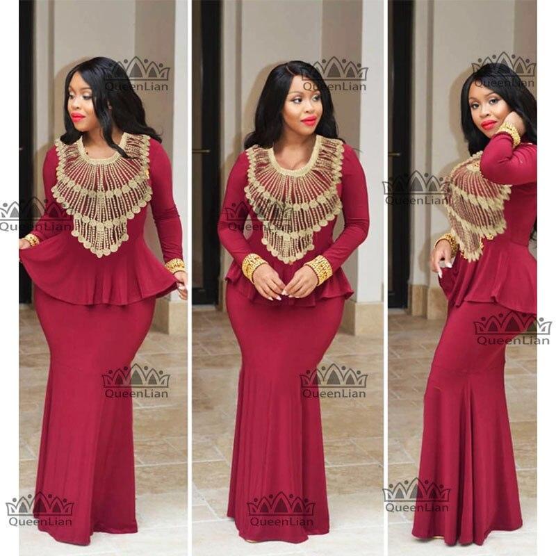 African Embroidery Design Long Dress Big Elastic  Dashiki  For Lady GL03#