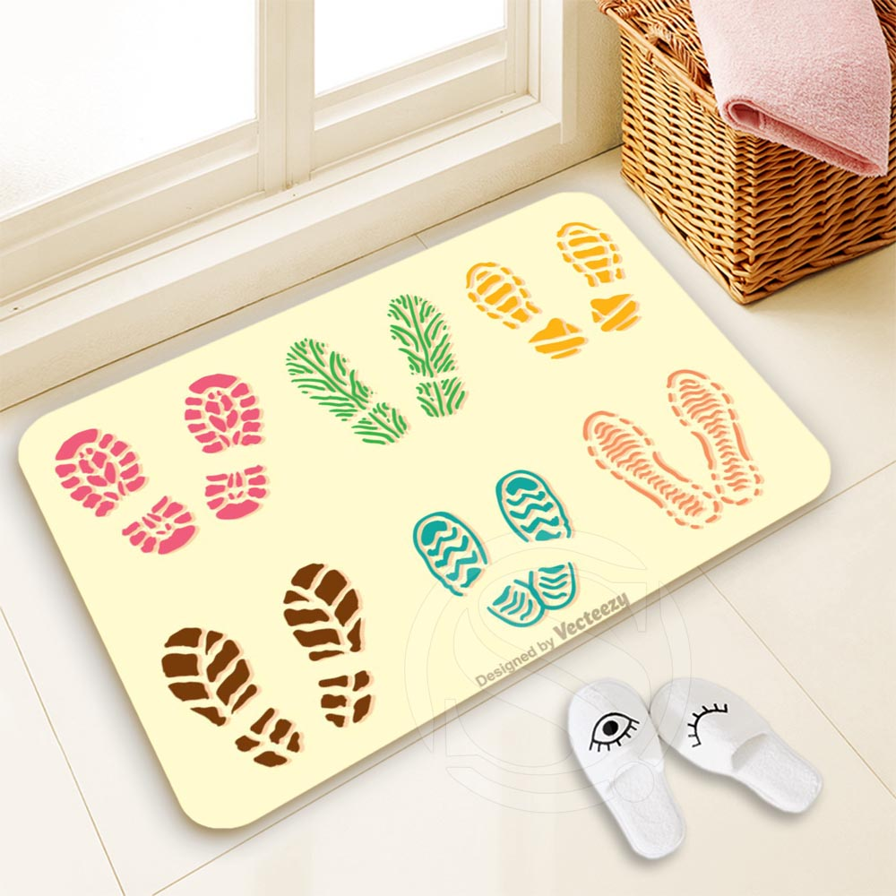 H-P691 Custom foodprint #9 Doormat Home Decor 100% Polyester Pattern Door mat Floor Mat  ...
