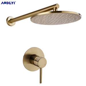Image 3 - Brushed Gold Solid Brass Bathroom Shower Set Rianfall Head Bath Faucet Wall Mounted Ceiling Arm Mixer Water System Panel Black