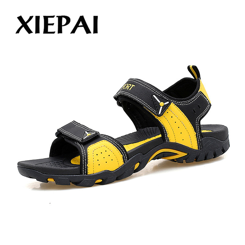 XIEPAI Unisex Style Summer Casual Sandals PU Leather Shoes Size 36-46 Male Female Fashion Beach Sandals Breathable Light Shoes