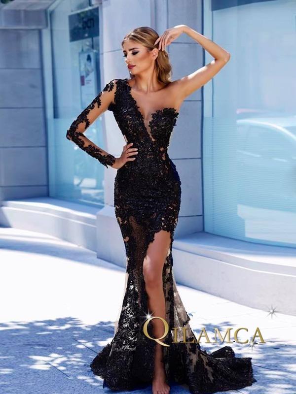 vestido de formatura New Design Special occasion Lace Beaded One sleeve Black long mermaid prom dress 2018