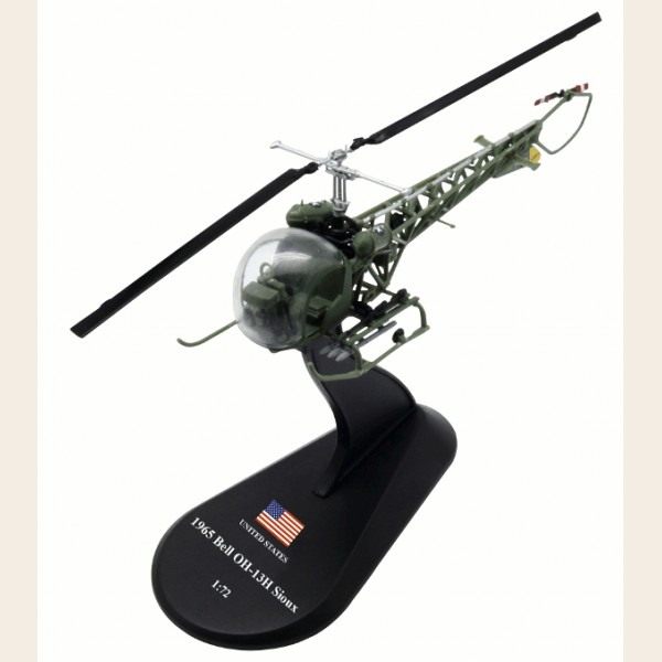 AMER 1/72 Scale Military Model Toys Bell OH-13H Sioux Helicopter Diecast Metal Plane Model Toy For Collection/Gift