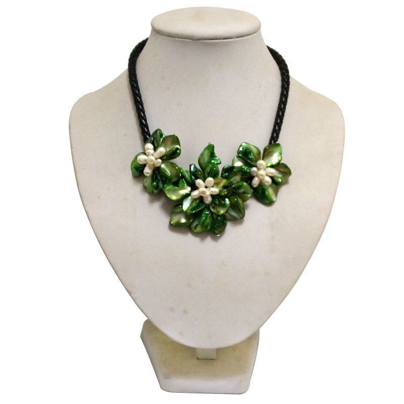 16 inches Natural Leather and Three Green Shell Flower White Pearl Necklace Sell by Piece