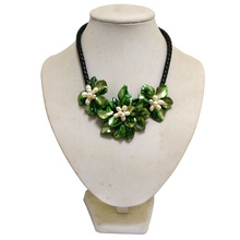 16 inches Natural Leather and Three Green Shell Flower White Pearl Necklace,Sell by Piece