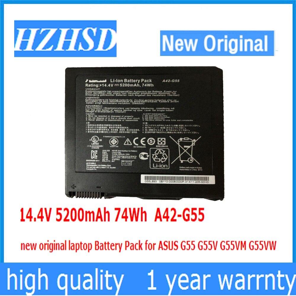 14.4V 5200mAh /74Wh A42-G55 New Original Laptop Battery Pack For ASUS G55 G55V G55VM G55VW