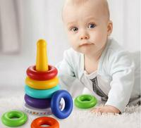 Cute colorful rainbow tower block baby toys stacking ring pattern education toys intelligent development toys for kids baby