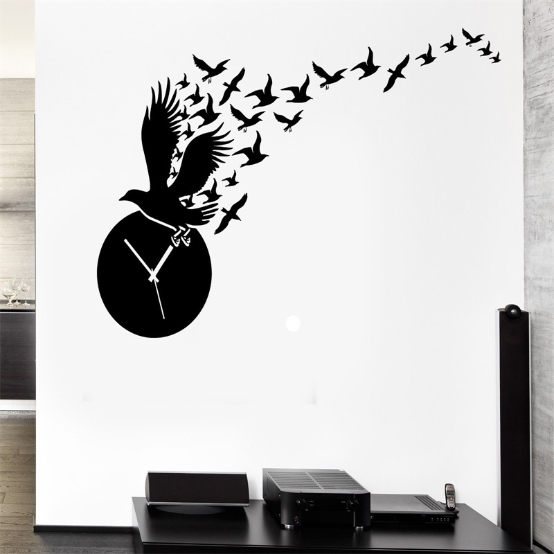 wall decal clock time birds great room decor vinyl stickers art