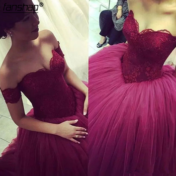 Burgundy Lace Sweetheart Ball Gown Cheap Quinceanera Dresses Long Prom Dresses vestidos de quinceaneras 2019 Custom Made