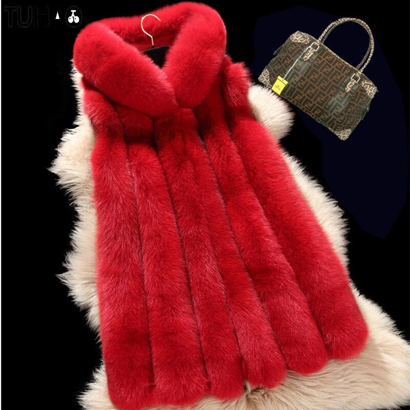 Faux no Femelle La no 1 Renard Taille Des 2 Plus Gilet 3xl Femmes Mode 4 Fourrure Manteau De Coatshooded 3 Nouveau No D'hiver 2018 Long no wxAC6T7qR
