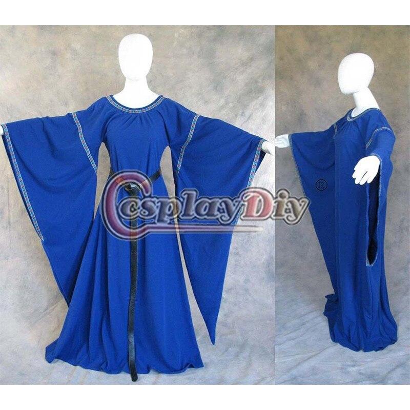 0ffab0001 Por encargo azul medieval campana manga vestido Juego de tronos Cosplay para  Halloween D0430