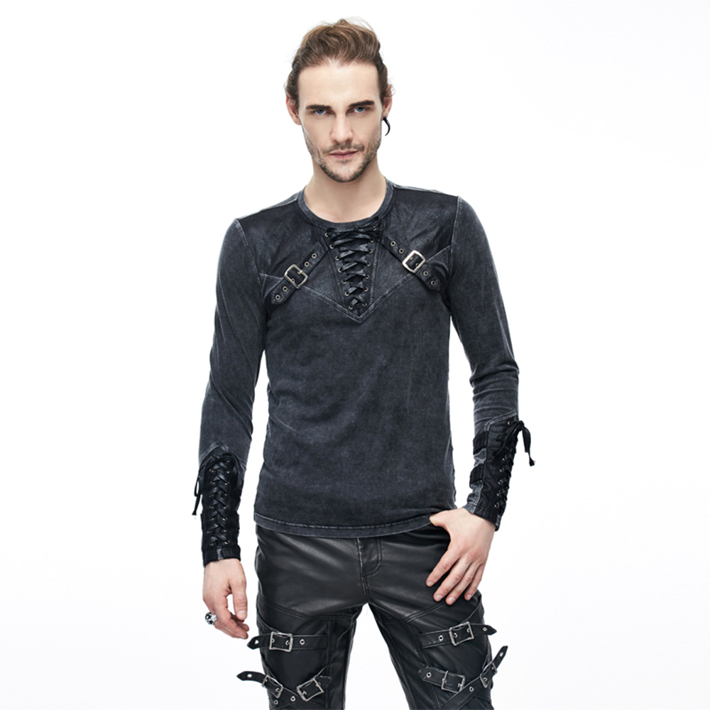 Punk Men T Shirts Long Sleeve Cross Belt Casual Tee Shirts O Neck Lace up Black