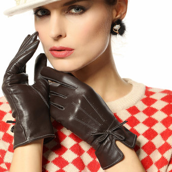 2020 New Women's Genuine Leather Gloves Female Fashion Bowknot Sheepskin Gloves Autumn Winter Warm Velvet Lined L123PC-1 women s genuine leather gloves black sheepskin finger driving gloves spring autumn thin velvet lined warm fashion mittens tb13