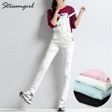 47ba9cb170f5 White Jumpsuit Denim Overalls For Women Elegant Female Pink Jumpsuit Jeans  Denim Pants With Straps Ladies