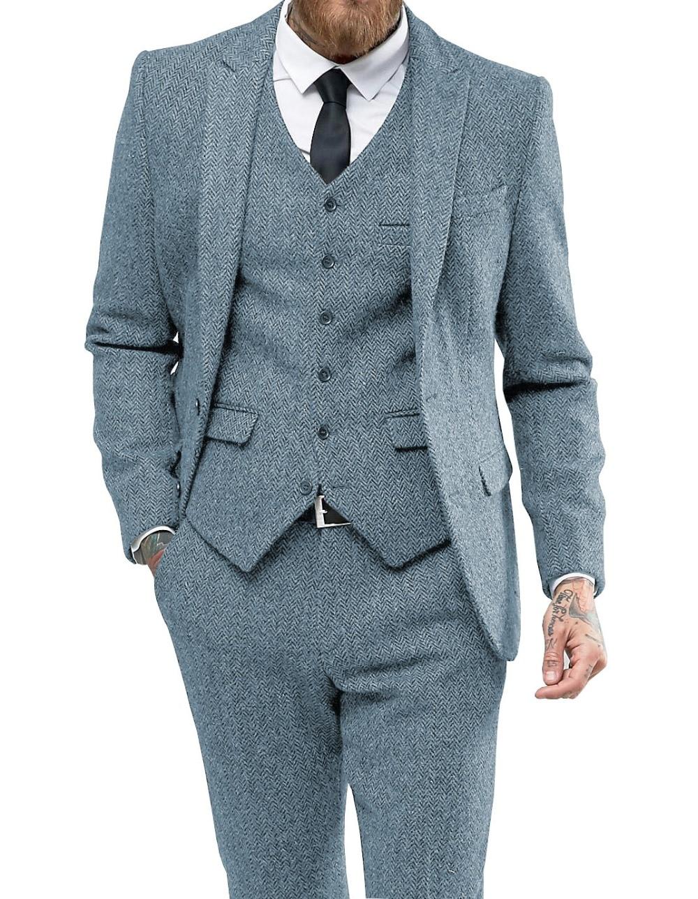Men Suit Herringbon Casual Formal Three Piece Business Groomsmen Grey White Burgundy Lapel Tuxedos For Wedding Blazer+Pants+Vest