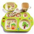5 pc/set de fibra de bambu crianças/crianças/bebê conjuntos de talheres 100% placa tigela copo colher garfo de jantar verde saudável