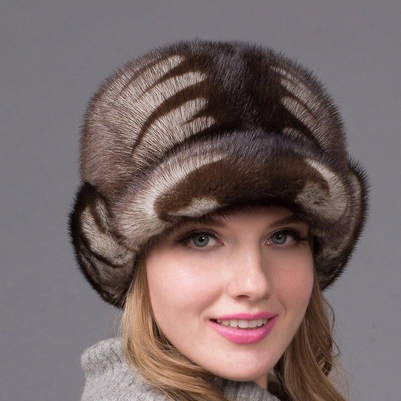 JKP Women's Real Suede Earmuffs Winter Warm Women's Fur Cap Mink Fur Beret Russian High-quality Elegant Head Hat DHY-44