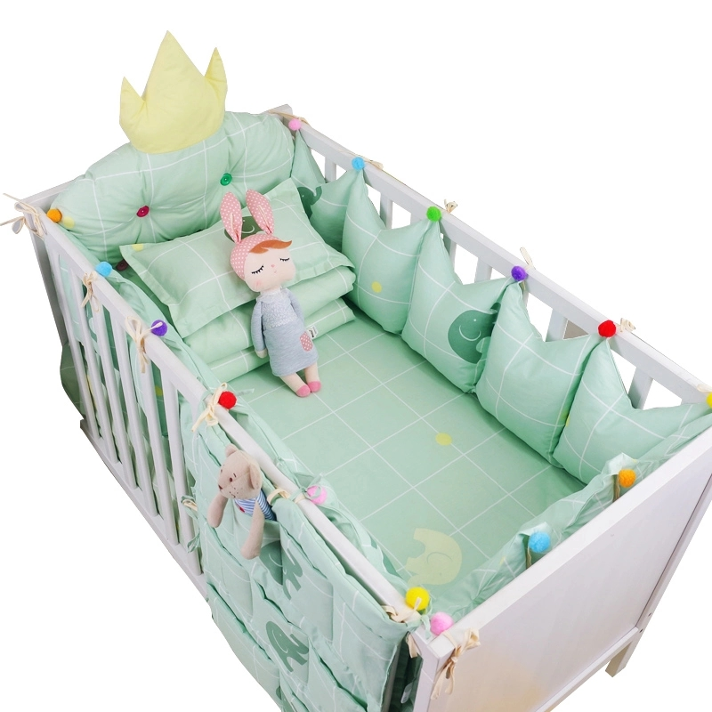 9 Pcs Baby Personalized Bedding Set Luxury Cotton Baby Cot Necessaries Crown Design Crib Bumpers Bed Sheet Quilt Pillow+Filling 7 pcs set ins hot crown design crib bedding set kawaii thick bumpers for baby cot around include bed bumper sheet quilt pillow