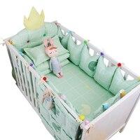 Juego de ropa de cama personalizada para bebé de 9 piezas, cuna de algodón de lujo, ropa de cama con diseño de corona de llenado
